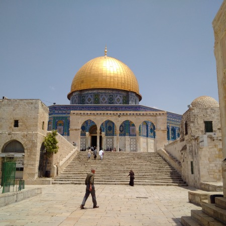 Dome of the Rock mosque atop Temple Mount (al-Masjid al-Aqsa), where Mary, Jesus & Muhammad all worshipped God, according to Islamic tradition.